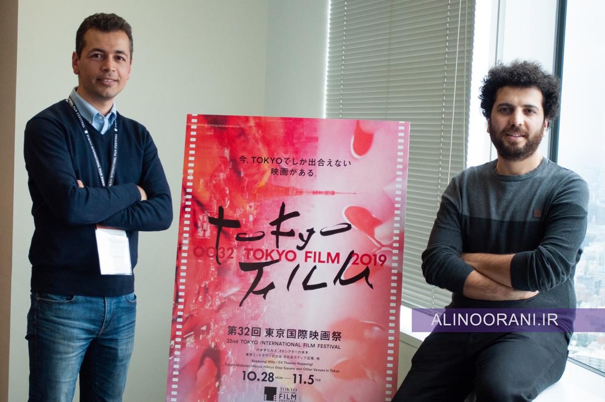سعید روستایی و علی نورانی خبرنگار رادیو ژاپن در جشنواره فیلم توکیو