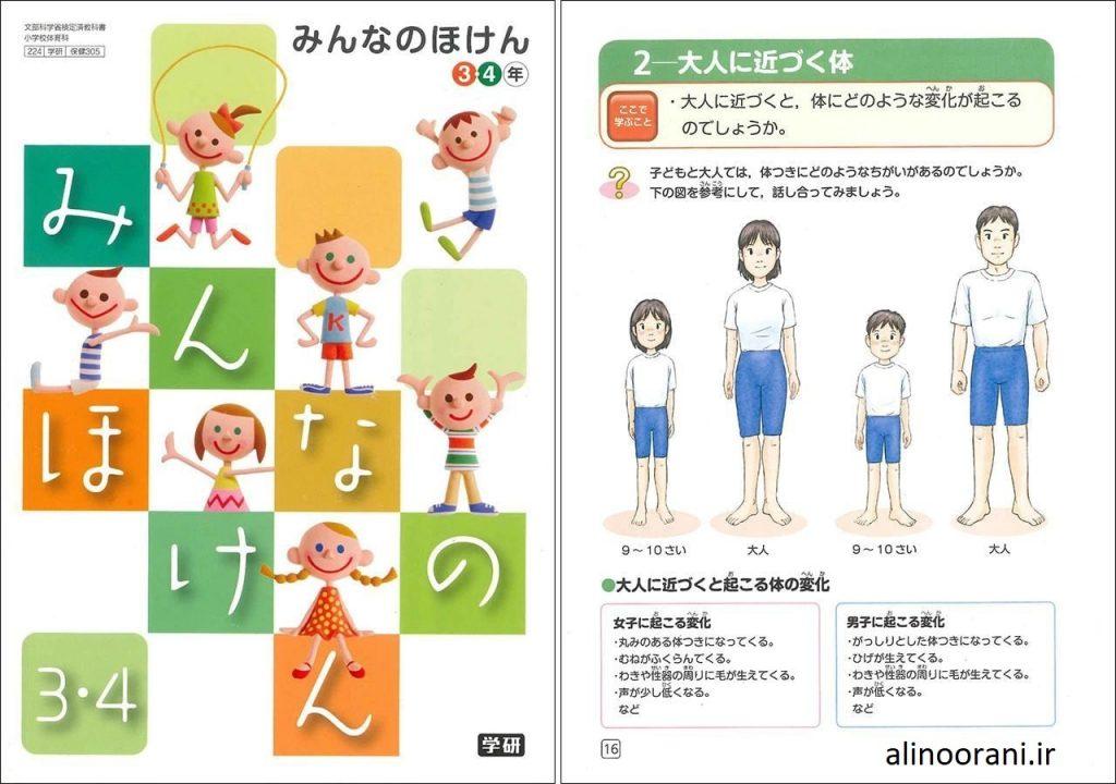 تصویری از کتاب درسی کلاس سوم و چهارم اتبدایی ژاپن با موضوع بلوغ و بزرگ شدن بدن مرد و زن و کودکان را نشان می دهد در حالی که لباس به تن دارند. منتقدان می گویند این تصاویر به اندازه کافی کودکان را از مسائل لازم آگاه نمی کند.