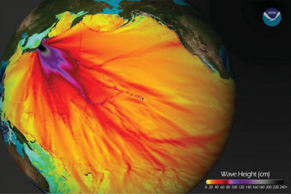 تصویر: شدت سونامی زلزله ۹ ریشتری ۲۰۱۱ در آبهای اقیانوس