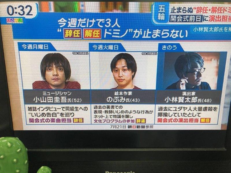 گزارش تلویزیون ان اچ کی ژاپن از سه نفر از مسئولان مراسم افتتاحیه المپیک که درست قبل از افتتاح المپیک برکنار شده اند.